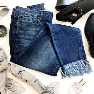 William Rast Fringe Hem Skinny Ankle Jeans